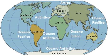 continentes e oceanos